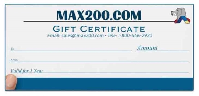 Max200 Physical Gift Certificate